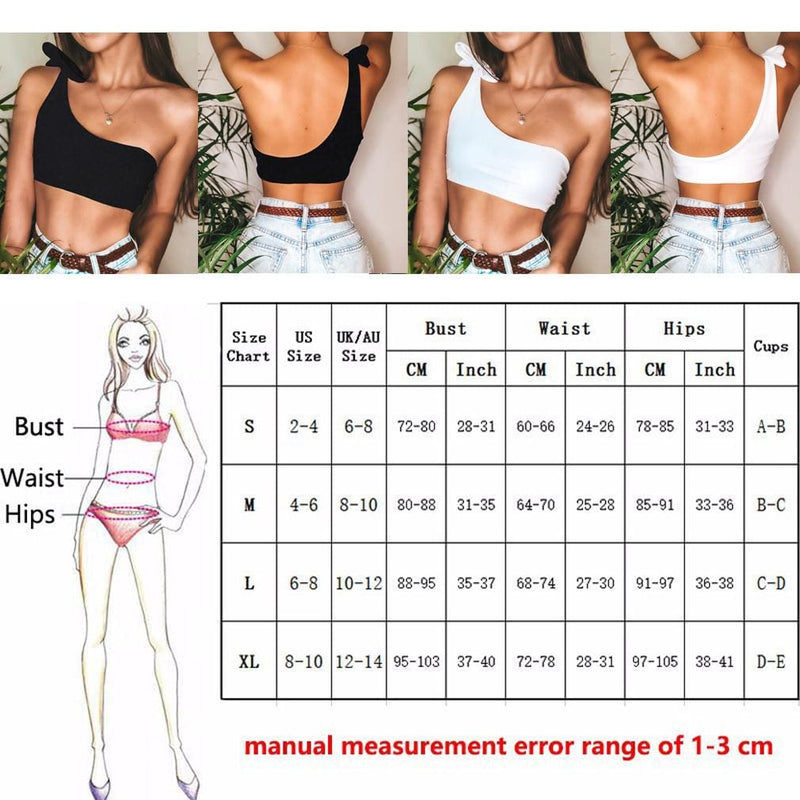 The Best Women Sexy Single Shoulder Knot Swimsuit Backless Solid Short Vest Top Summer Beach Swimwear Beachwear Online - Hplify