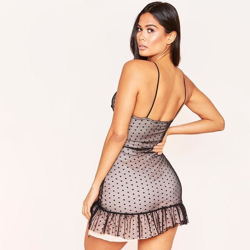 The Best Women Sexy Strappy Bodycon Dress Mesh Sheer Sleeveless Sleepwear Evening Party Club Mini Vestidos Sunderss Online - Hplify
