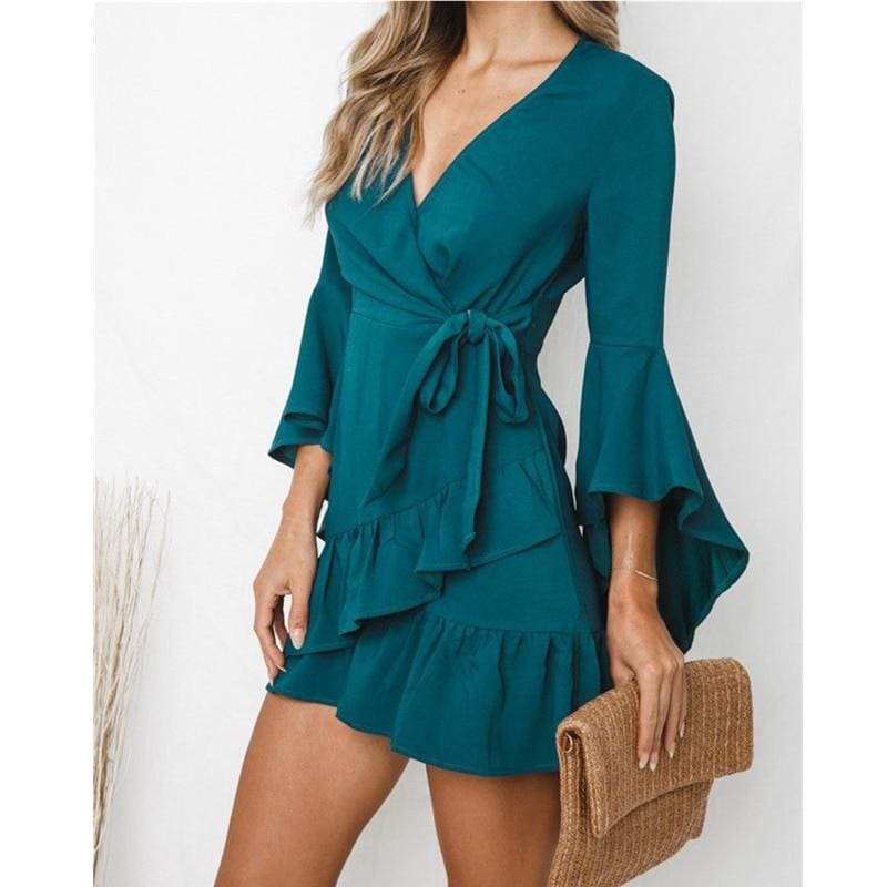 The Best Women Sexy V-Neck High Waist Wrap Mini Dress Ladies Summer Beach Floral Ruffle Dress Sundress Online - Source Silk