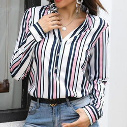 The Best Women Shirts Striped Blouses Office Ladies Long Sleeve Buttons Slim Shirts Tops Online - Hplify