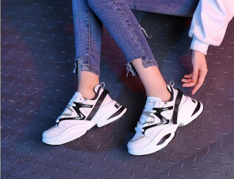 The Best Women Shoes Flock Platform Sneakers Lace-Up Sewing Med Wedges Shoes Online - Source Silk