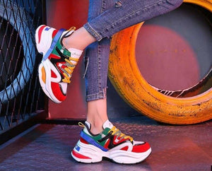 Buy Cheap Women Shoes Flock Platform Sneakers Lace-Up Sewing Med Wedges Shoes Online - Hplify