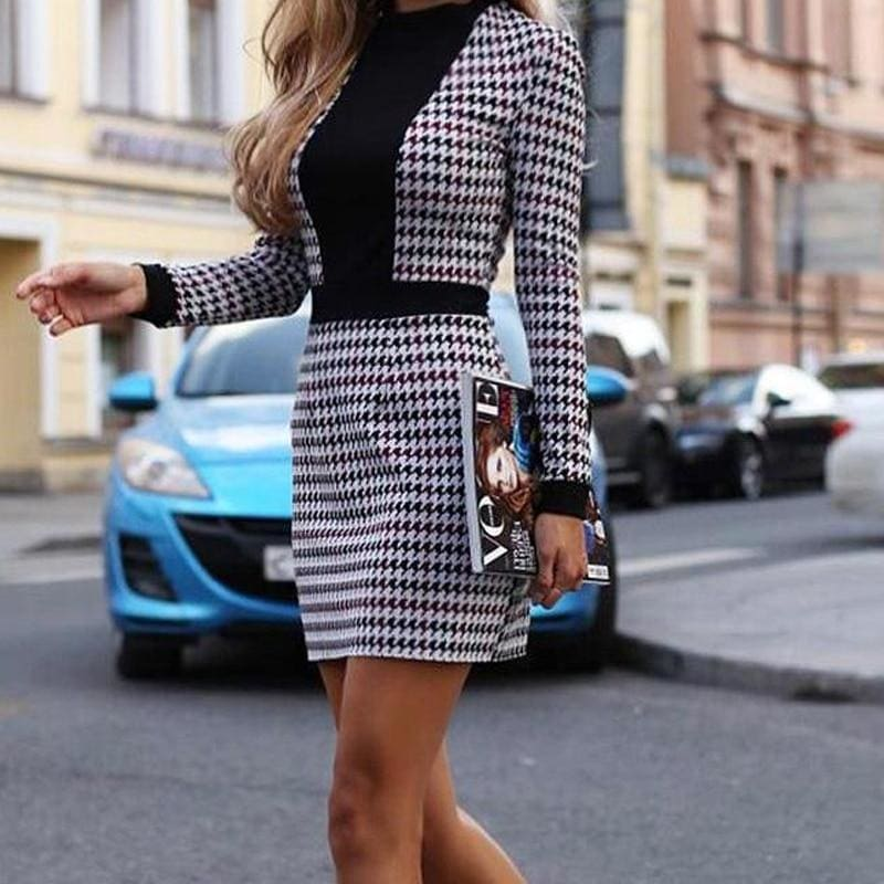 The Best Women Short Dress Fall Winter Vintage  Print Slim Long Sleeve Dresses Online - Hplify