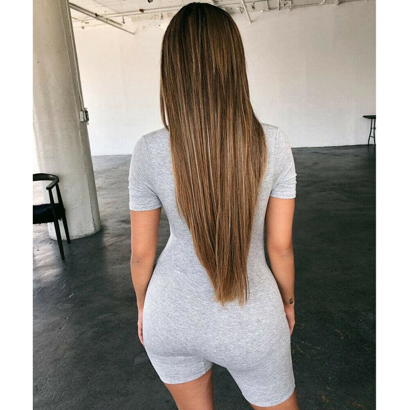 The Best Women Short Sleeve Bodycon Bodysuit Stretch V Neck Leotard Casual Solid Jumpsuit Romper Online - Hplify