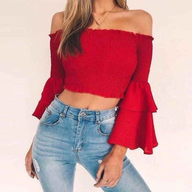 The Best Women Slash Neck Flare Sleeve Slim Short Shirt Off Shoulder Tops Online - Source Silk