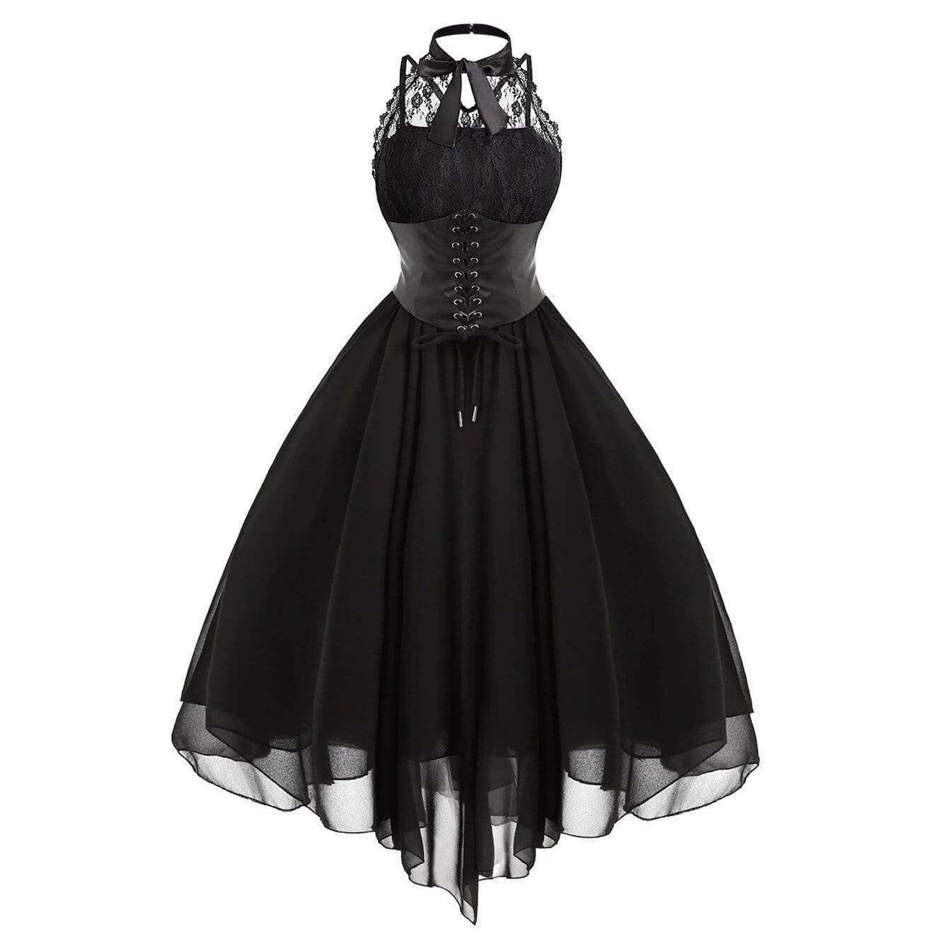 Women Sleeveless Bandage Chiffon Dress Gothic Solid Plus Midi Dress - Black / XXL - Womens Dress