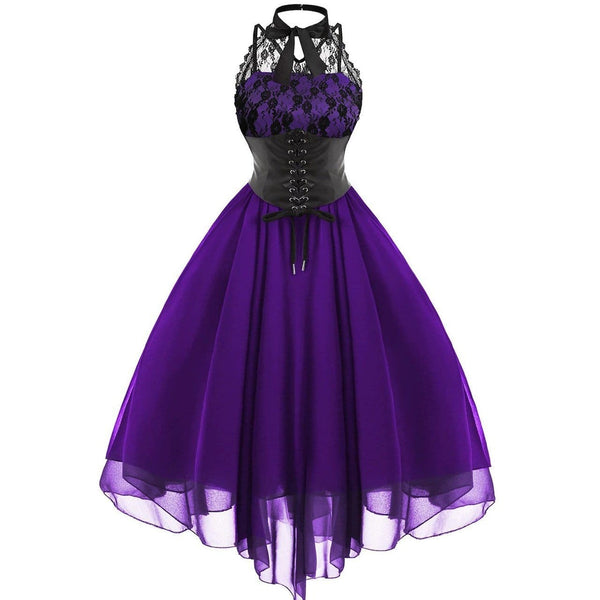 The Best Women Sleeveless Bandage Chiffon Dress Gothic Solid Plus Midi Dress Online - Source Silk