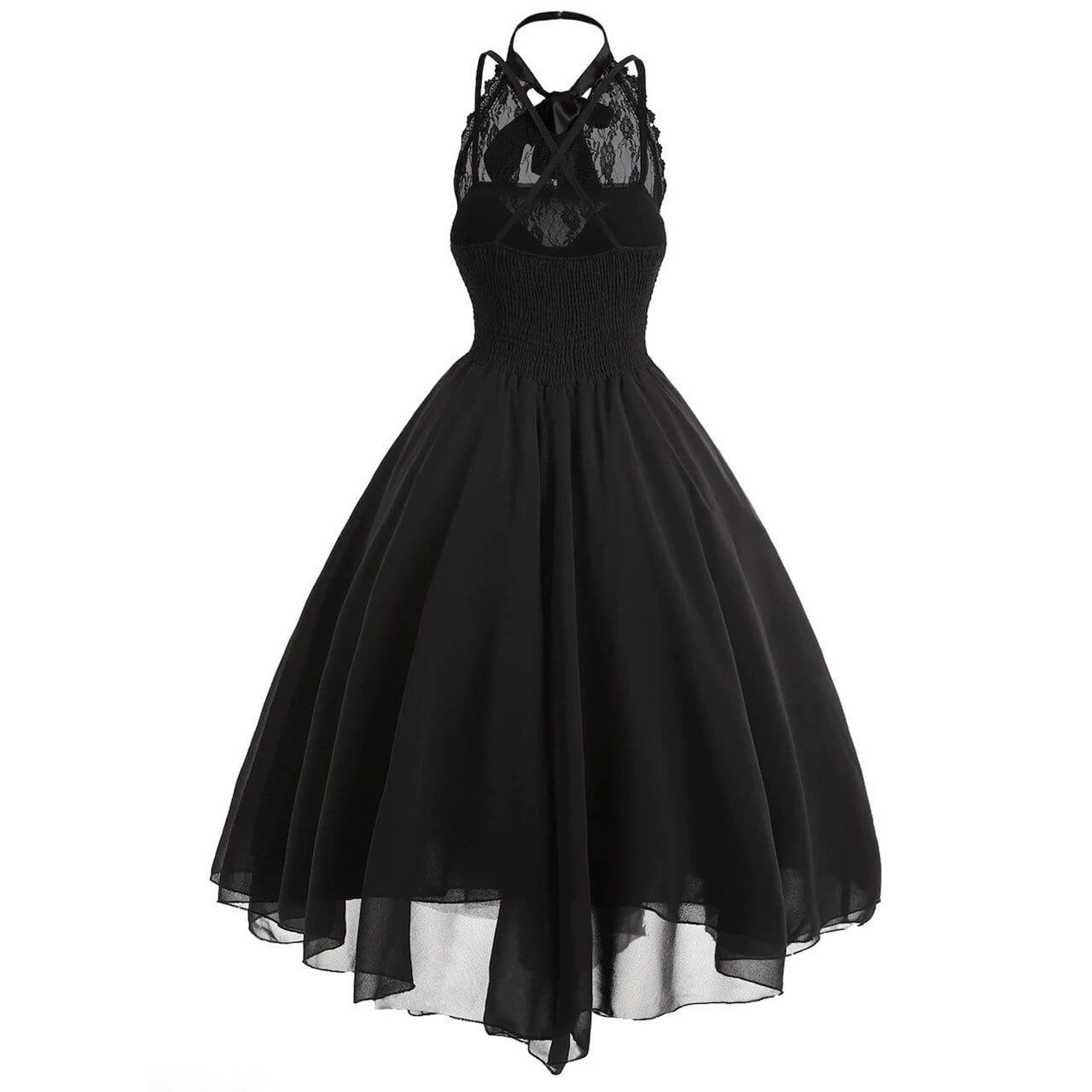 Women Sleeveless Bandage Chiffon Dress Gothic Solid Plus Midi Dress - Womens Dress