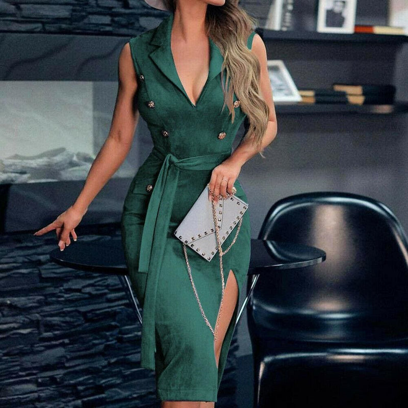 The Best Women Sleeveless Bodycon Dress OL Ladies V-Neck Button Bow Slit Party Cocktail Club Sundress Online - Hplify
