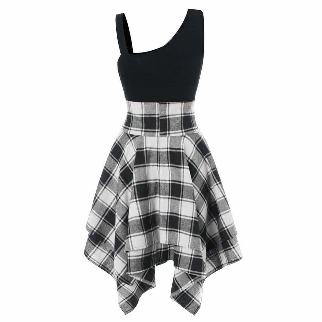 Buy Cheap Women Sleeveless Cold Shoulder Cross Lace Up Plaid Asymmetrical Dress Online - Hplify