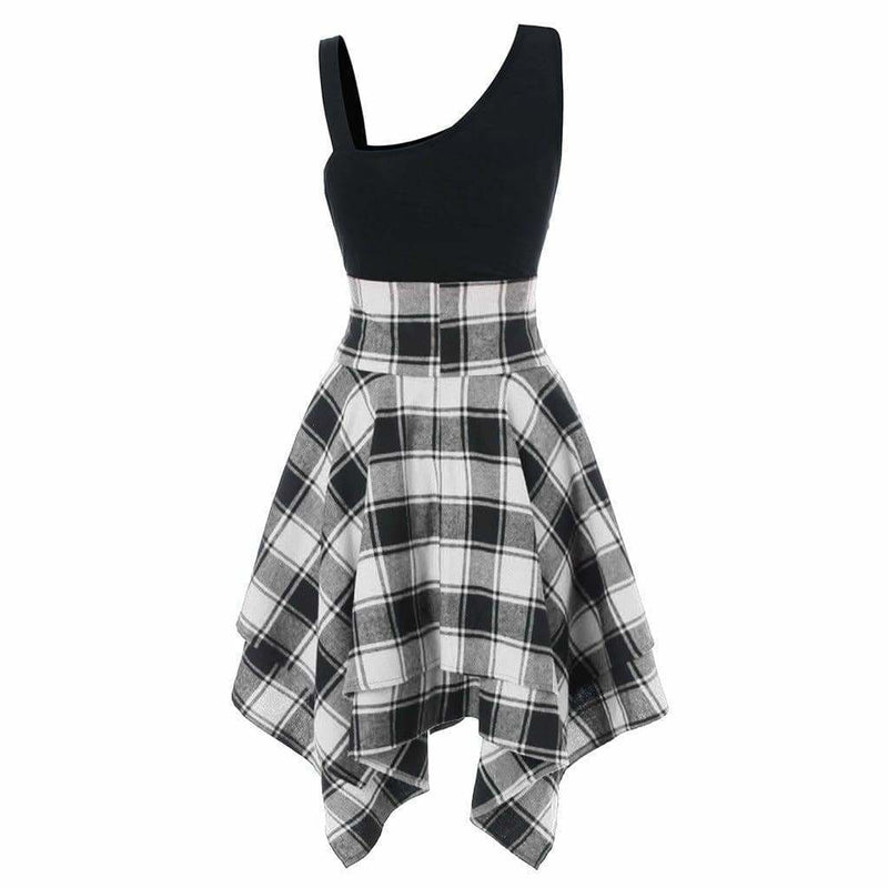The Best Women Sleeveless Cold Shoulder Cross Lace Up Plaid Asymmetrical Dress Online - Source Silk