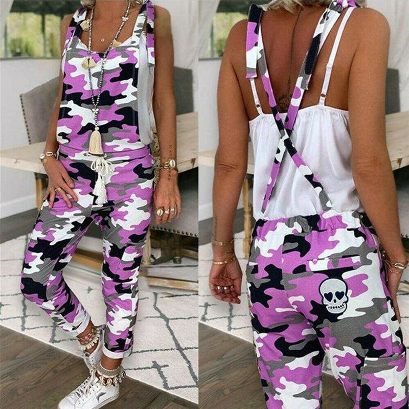 The Best Women Sleeveless Leopard&Camouflage Jumpsuit Dungarees Overall Casual Harem Strap Long Pant Trousers Online - Hplify