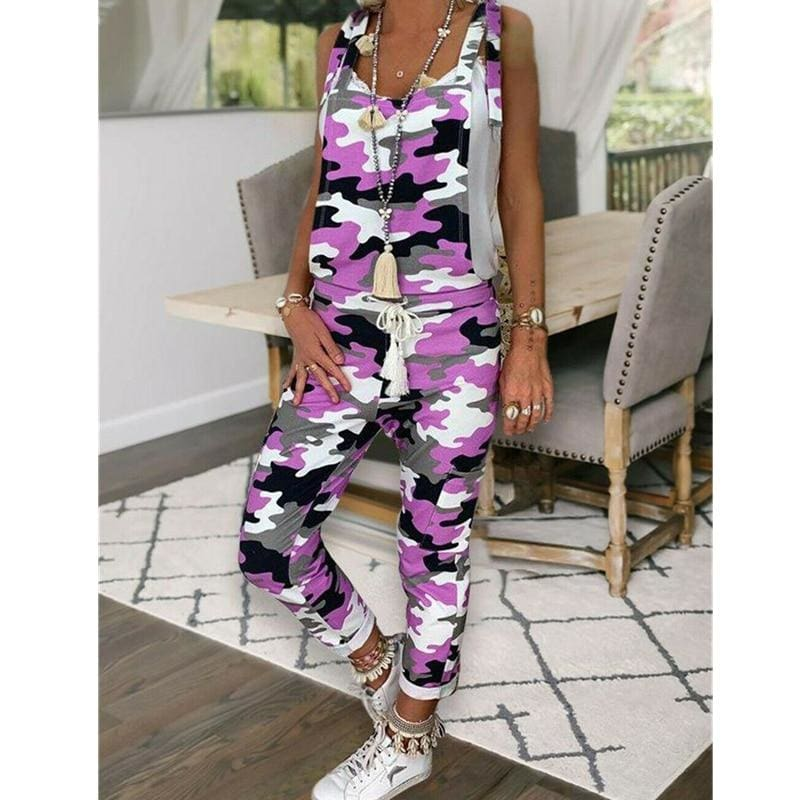 The Best Women Sleeveless Leopard&Camouflage Jumpsuit Dungarees Overall Casual Harem Strap Long Pant Trousers Online - Source Silk