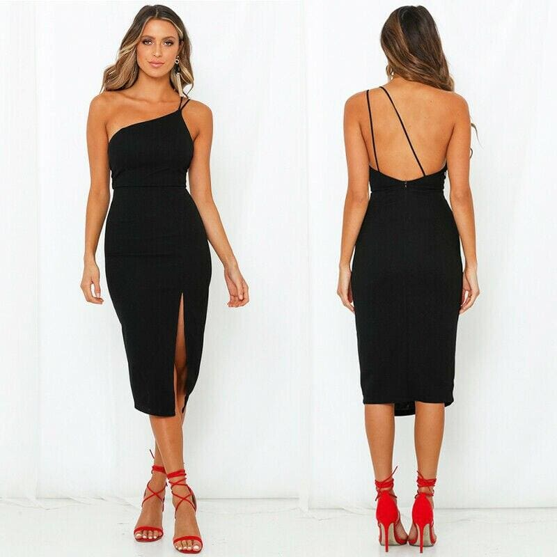The Best Women Sleeveless Split Bodycon Dress Ladies Summer Casual Spaghetti Strap Evening Party Beach Dresses Sundress Online - Source Silk