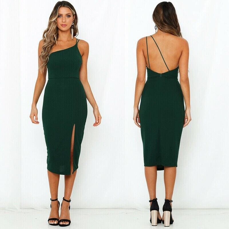 Buy Cheap Women Sleeveless Split Bodycon Dress Ladies Summer Casual Spaghetti Strap Evening Party Beach Dresses Sundress Online - Hplify