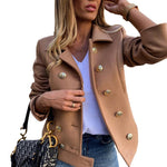 women slim fit double breasted jacket coat autumn short jacket fashion solid khaki streetwear casual outwear jackets - Hplify