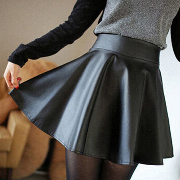 The Best Women Slim PU Skirt High Waist Short Mini Skirt Pleated Party Faux Leather Skirts Online - Hplify