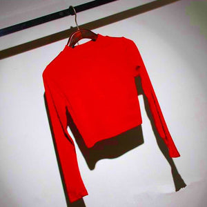 Women Solid Color Crop Top Slim Soft Elastic Turtleneck Solid Tops - red / One Size - Womens Tops
