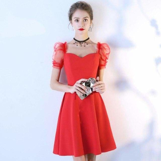 The Best Women Solid Short Puff Sleeve V-Neck Fashion Summer Evening Lace Dress Online - Source Silk