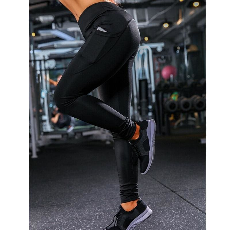 The Best Women Sport Pants High Waist Fitness Leggings Running Gym Elastic Trousers Casual Solid Skinny Workout Athletic Pants Online - Hplify