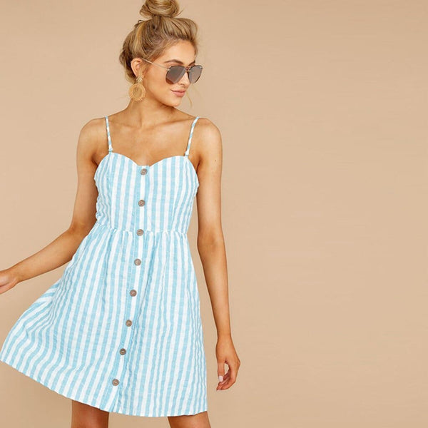 The Best Women Strappy Off Shoulder Striped Bow Open Back Short Mini Dress Online - Source Silk