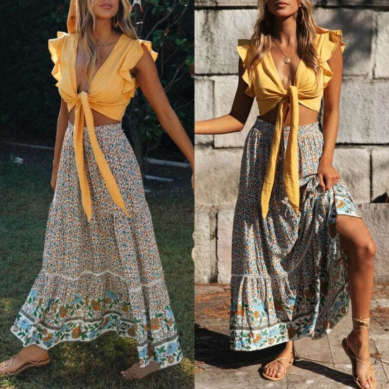 Buy Cheap Women Stretch High Waist Floral Print Long Skirt Maxi Beach Casual Boho Polyester Ankle-length Skirt Online - Hplify
