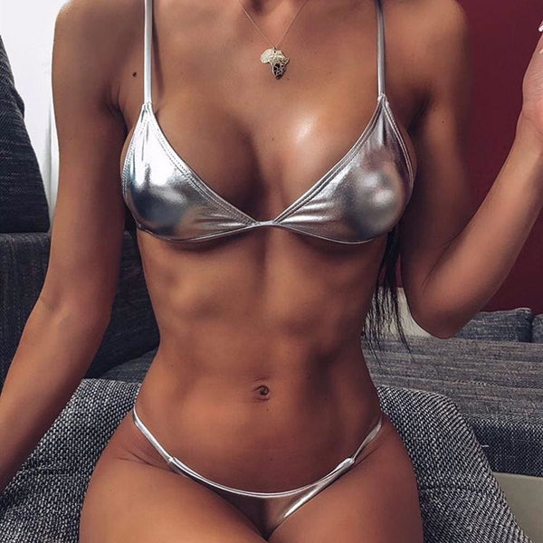 The Best Women String Micro Bikinis Brazil Thong Swimsuit Silver Strap Two Piece Swimwears Online - Hplify