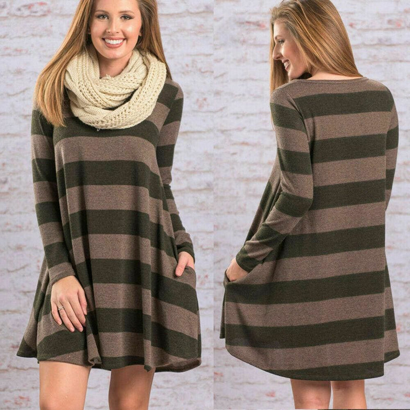 The Best Women Stripe Mini Dress Round Neck Long Sleeve Ladies Casual Loose Tunic Pocket Short Dress Online - Hplify