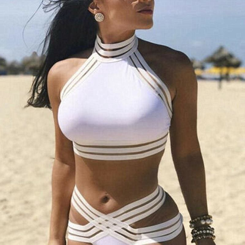 The Best Women Summer Bandage Bikini Set Ladies Push-up Crop Tops Padded Bra 2Pcs Swimsuit Swimwear Female Bathing Suit Beachwear Online - Source Silk
