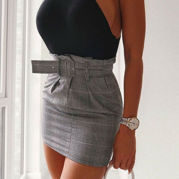 The Best Women Summer Bodycon Plaid Short Mini Skirt High Waist Pencil Skirt Online - Hplify