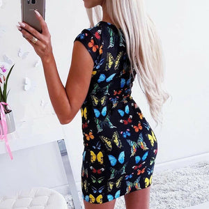 Women Summer Boho Floral Short Mini Dress Elegant Ladies Sleevless Party Beach Slim Dresses Sundress - Dresses