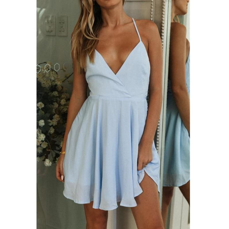 The Best Women Summer Boho Short Mini Dress Fit ans Flare Evening Party Beach Holiday Sundress Online - Source Silk
