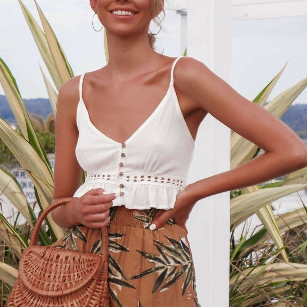 The Best Women Summer Casual Tank Tops Ladies Strappy Solid Beach Holiday Vest Blouse Sleeveless Crop Shirt Online - Source Silk