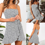 Buy Cheap Women Summer Dress Fashion Casual Printed Draped Sling Female Dress Online - Hplify
