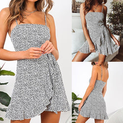 The Best Women Summer Dress Fashion Casual Printed Draped Sling Female Dress Online - Source Silk