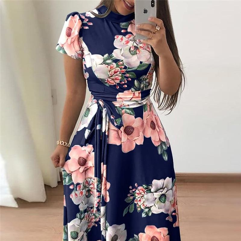 The Best Women Summer Dress Turtleneck Bandage Elegant Dresses Online - Source Silk