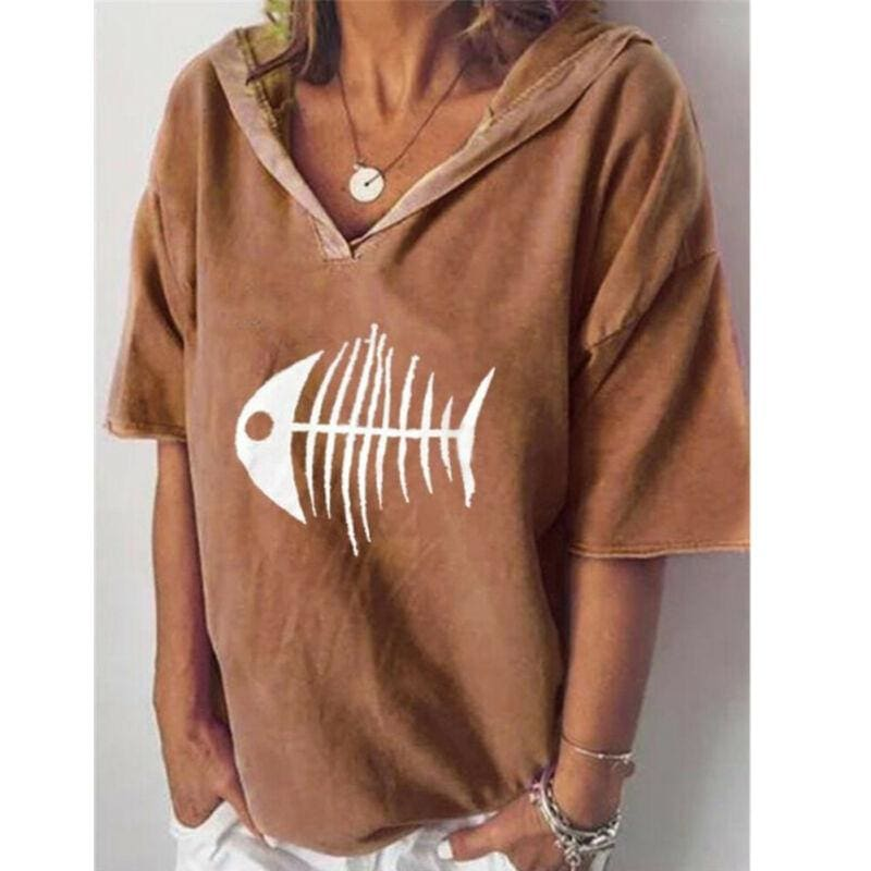 Women Summer Hooded Pullover Tops Loose Blouse Tops Shirt - Womens Clothing