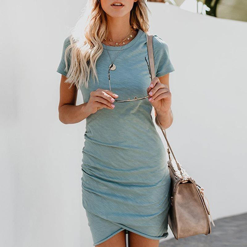 Women Summer Mini Dress Short Sleeve Solid Bodycon Slim Dress - Womens Dress