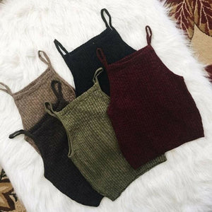 Women Summer Sleeveless Spaghetti Strap Knitted Short Tank Vest Tops Bodycon Casual Solid Crop Tops Tank Tops - Tops