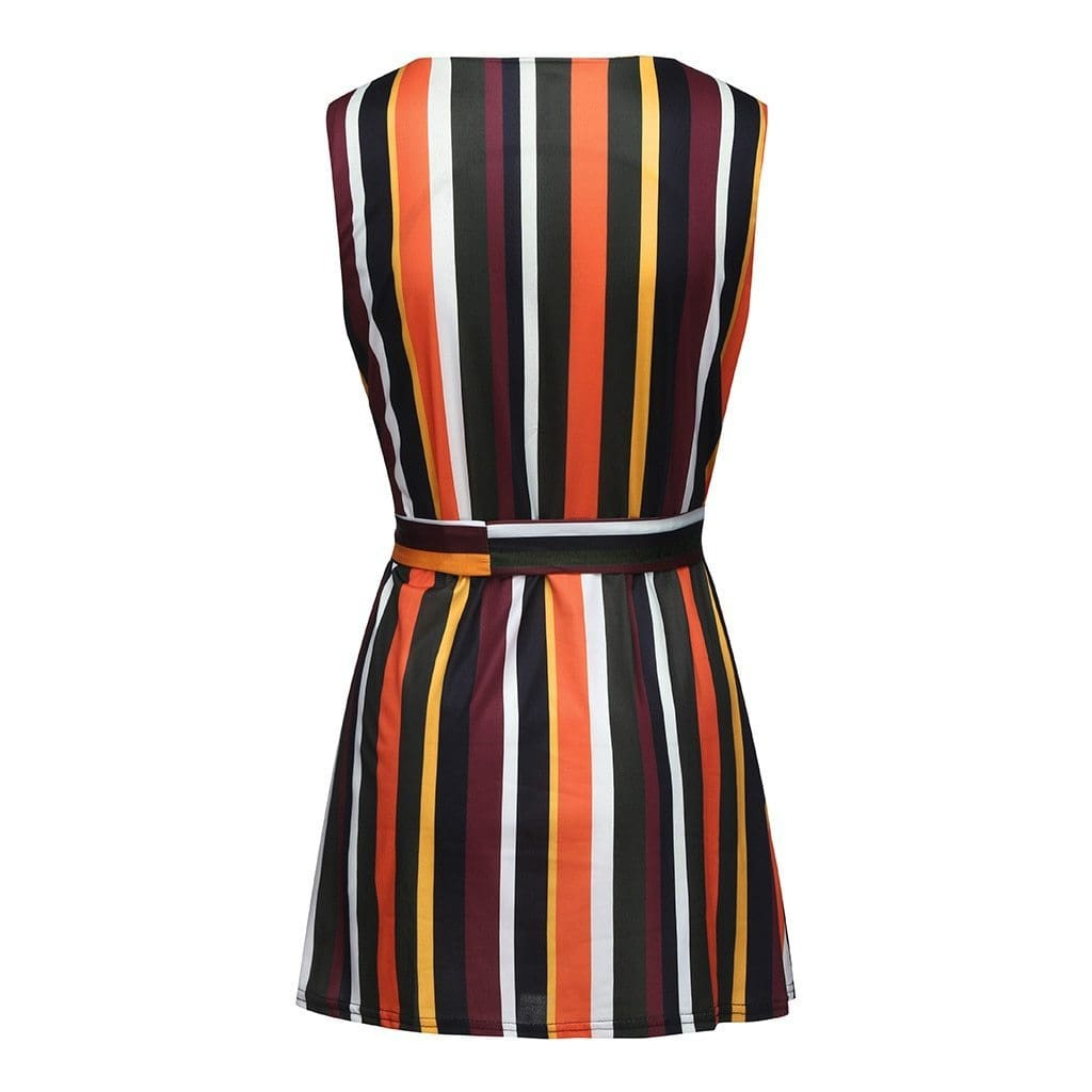Buy Cheap Women Summer Sleeveless Striped Printed Elastic  Beach Party Dress Online - Hplify