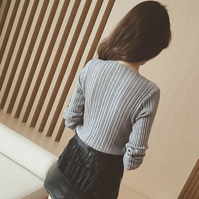 The Best Women Tops Solid Stripes Women's Knitted Shirts Online - Hplify