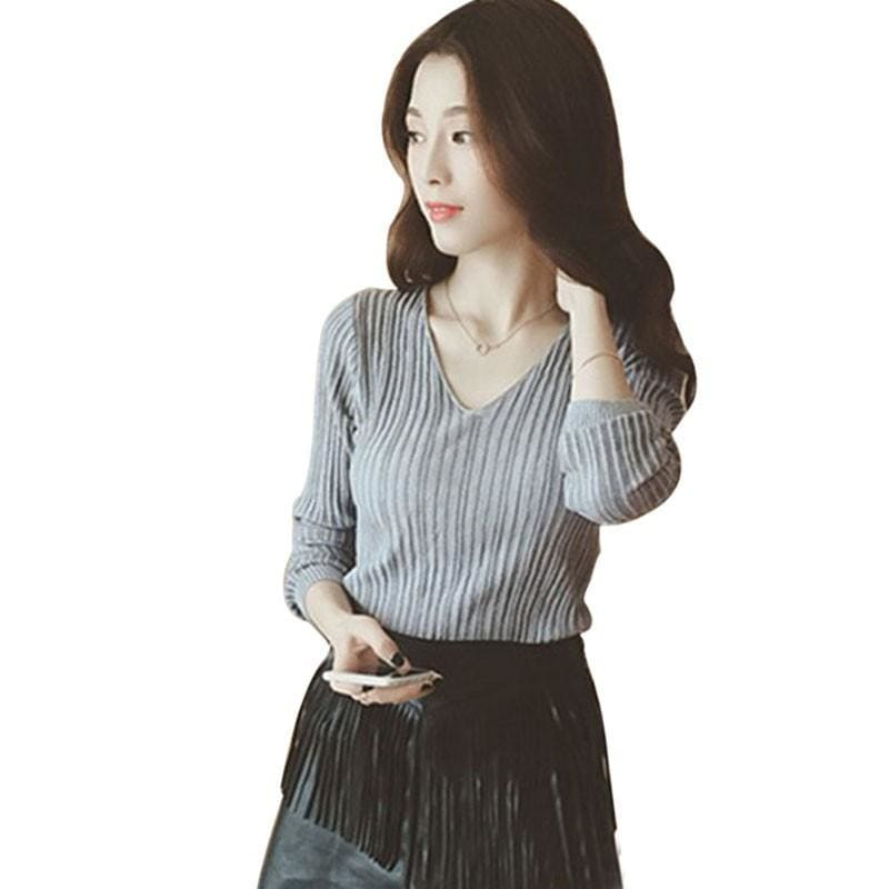 The Best Women Tops Solid Stripes Women's Knitted Shirts Online - Source Silk
