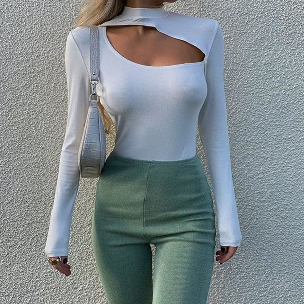The Best Women Turtleneck Stretch Long Sleeve Leotard Bodysuit Ladies Casual Romper Jumpsuit Top Blouse Online - Source Silk