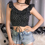 Buy Cheap Women V-neck Casual Vest Top Blouse Bandage Ladies Dot Print Beach Holiday Crop Top Shirt Online - Hplify