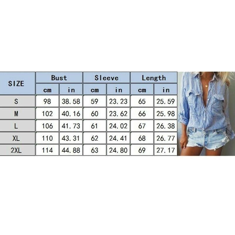 The Best Women V-Neck Striped Blouses Office Ladies Long Sleeve Buttons Slim Shirts Tops Online - Hplify