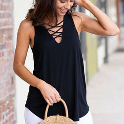 The Best Women Vest Sleeveless Loose Camisole Ladies Solid Tank Tops Blouse Shirt Summer Clothes Online - Hplify