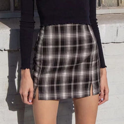 The Best Women White and Black Plaid Print Mini Skirt with Online - Hplify