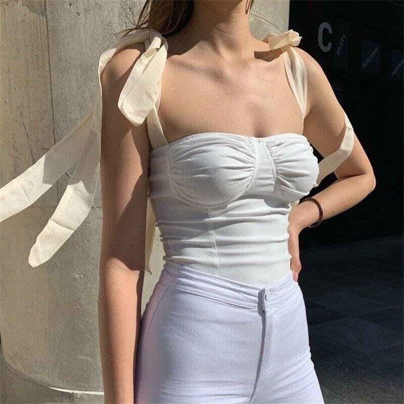 Women Wide Strap Bandage Bust Tank Tops Sexy Bodycon Sleeveless Vest Cami Vest Tube Blouse - Hplify
