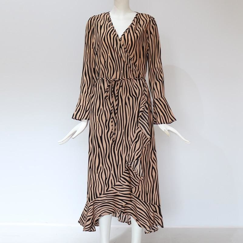 The Best Women Zebra Print Beach Bohemian Long Sleeve V Neck Ruffle Dress Online - Source Silk