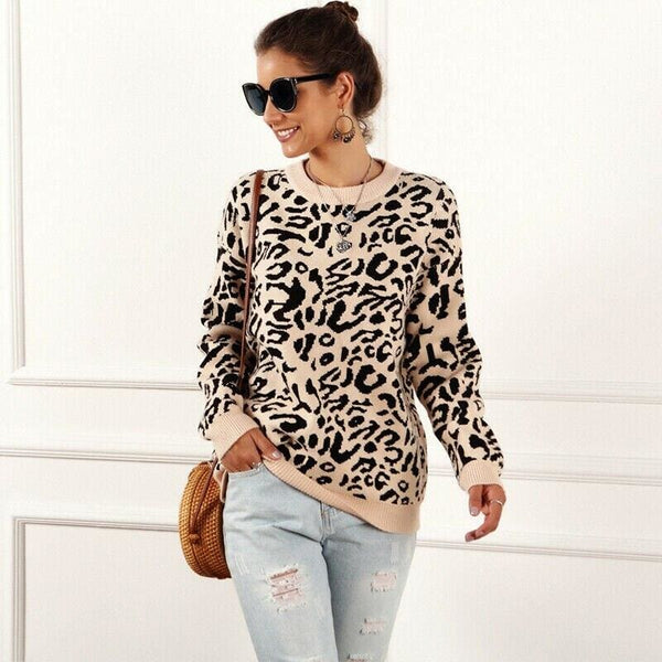New Ladies Womens Knitted Long Sleeve Leopard Print Sweater Pullover Jumper Top